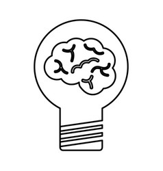 Bulb light with brain vector