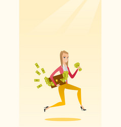 Business woman with briefcase full of money vector