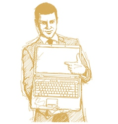 businessman laptop finger vector image vector image