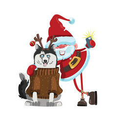 cartoon santa claus does selfie with a dog a vector image vector image