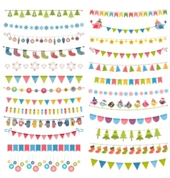 Christmas flags bunting and garlands isolated on vector