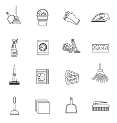 Cleaning icons set modern line sketch doodle vector image vector image