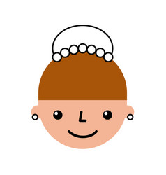 cute woman head character vector image