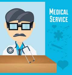 Doctor with glasses and stethoscope to medical vector