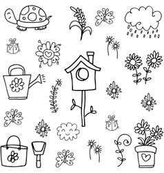 Doodle of spring flower leaf collection vector