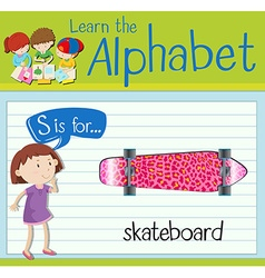 Flashcard alphabet s is for skateboard vector