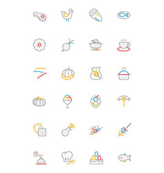 Food colored outline icons 7 vector