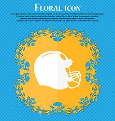 football helmet icon Floral flat design on a blue vector image vector image