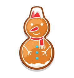Gingerbread cookies snowman of merry vector