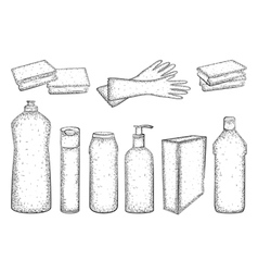 Hand drawn set of products for housekeeping vector
