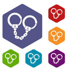 Handcuffs icons set hexagon vector