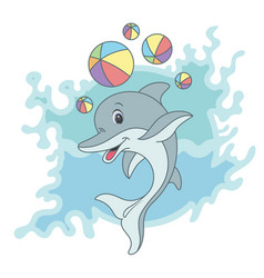 happy dolphin on blue vector image vector image