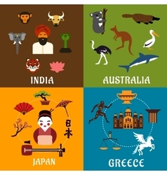 India Greece Japan and Australia travel icons vector image vector image