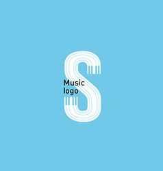 Logo on the theme music typography and piano keys vector