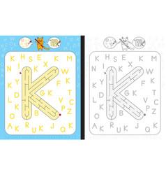 maze letter k vector image vector image