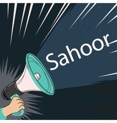 Megaphone speaker alert for sahoor or sahur sketch vector