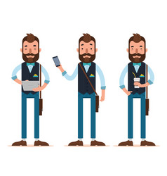Men stands with digital tablet phone coffee vector