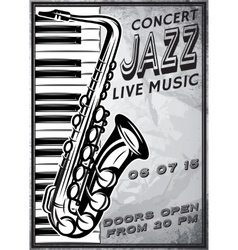 Retro poster with saxophone and piano for jazz vector