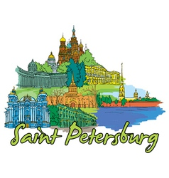 saint petersburg doodles vector image