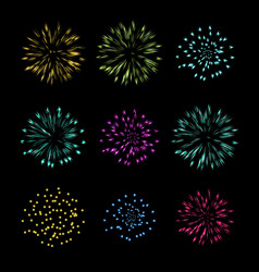 Set of fireworks object vector