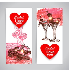 Set of valentines day banners vector