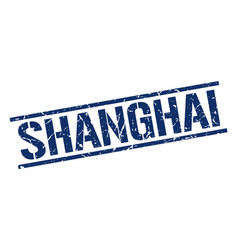 Shanghai blue square stamp vector