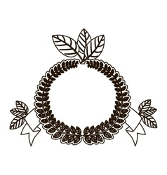 Silhouette crown of leaves with ramifications vector