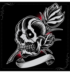 Skull rose and ribbon vector