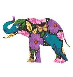 The silhouette of the elephant with floral ornamen vector