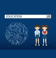Two students with education search engine bar vector