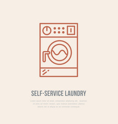 Washing machine icon washer line logo flat sign vector