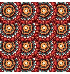 Ethnic boho floral rosettes seamless pattern vector image