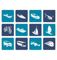 Flat different kind of transportation and travel vector image