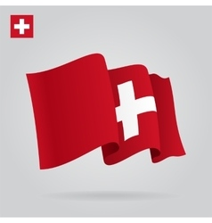 Swiss waving flag vector