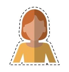 Woman intelligent success cutting line vector