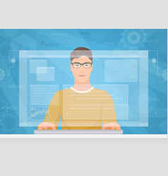 Man software engineer concept with design vector