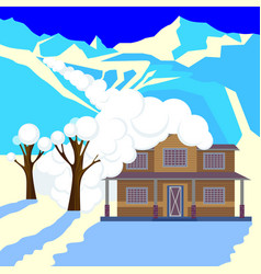 Snow avalanche in mountains covered cottage roof vector