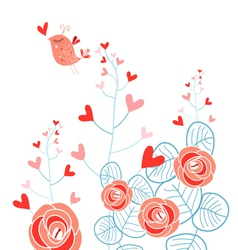 Plants with hearts and love bird vector