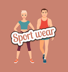 Fitness fashion couple in sport wear vector