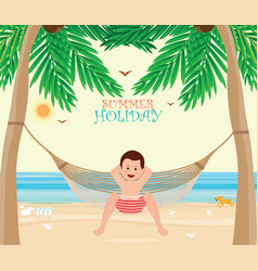 Man relax on the beach cradle after hard working vector