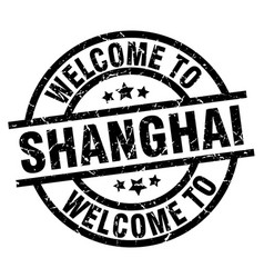 Welcome to shanghai black stamp vector
