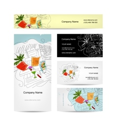 Set of business cards design cocktail in beach vector image