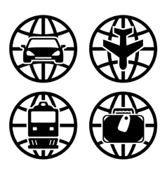Set transport icons for travel vector