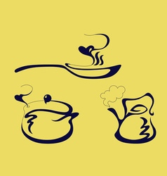 Pan kettle and pot vector