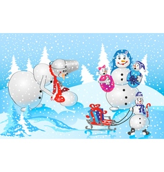Family of snowmen vector