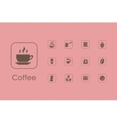 Set of coffee simple icons vector