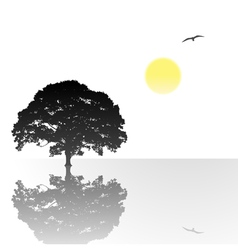 lone tree with reflection vector image