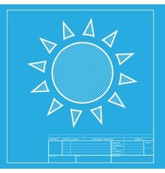 Sun sign  white section of icon on vector