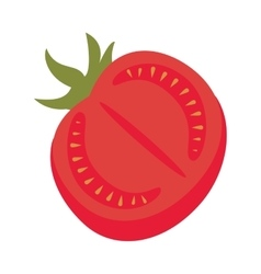Tomato vegetable half vector
