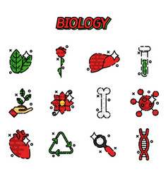 Biology flat concept icons vector
